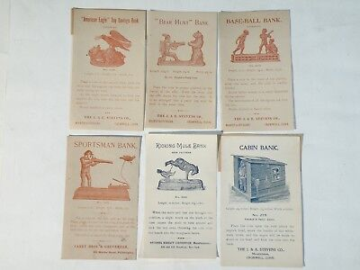 8 Mechanical Bank Advertising Fliers, all original, 6 small and 2 larger