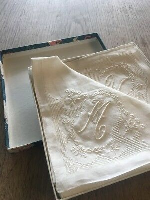 Antique Linen Embroidered Embossed Cut Away Handkerchief X 4 Boxed