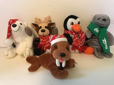 1998 Coca Cola Christmas Beanie Plush Lot Of 5 With Tags