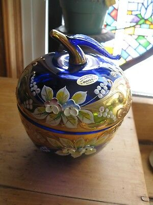 Czech/bohemian Blue Glass Gilt Apple  Hand-Painted Enamel Floral Design  Signed
