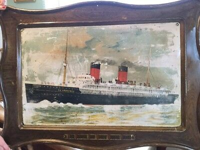 tin lithographed french line advertising sign SS la provence in faux wood frame