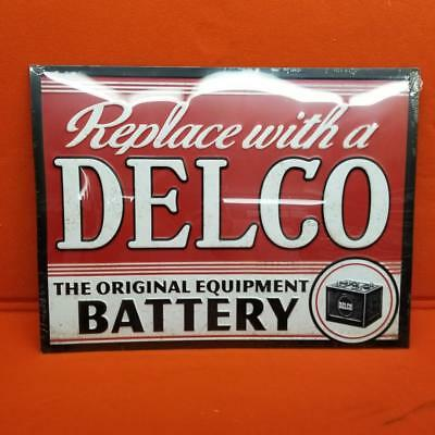 Delco Battery  Embossed Tin Sign Vintage Style
