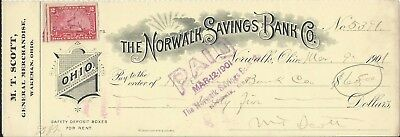 1901 Norwalk/Wakeman OH Norwalk Savings Bank Co Check M T Scott General MS Stamp