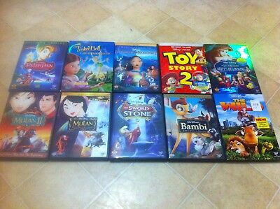 10 Disney DVD's - Bambi, Peter Pan, Mulan, Pocahontas, Toy Story, Little Mermaid