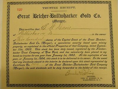 1902 Trustee Receipt from the merger of the Great Belcher-Bullwhacker Gold Co