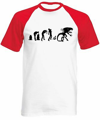 Evolution Of Alien Short Sleeve Baseball T-Shirt - Nostromo Ripley Horror Space