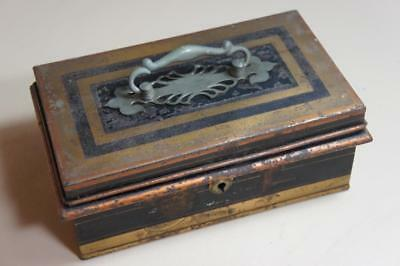 """Vintage tinplate 9"""" 4 compartment cash box in black with gold lining"""