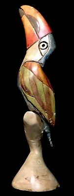 """Balsa Wood Toucan: Hand Carved, Hand Painted 8"""" Colorful Display Art"""