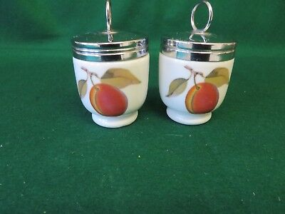 2 X 1950's ROYAL WORCESTER  STANDARD SIZE EGG CODDLERS EVESHAM  WITH GREEN BACK