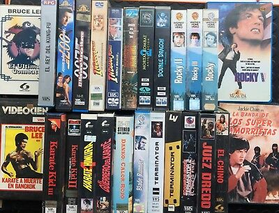 VHS lote 007 rocky bruce lee jackie chan lot pelicula peli stock untested video