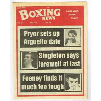Boxing News Magazine July 9 1982 Mbox3097/C  Vol 38 No.28 Pryor sets up Arguello