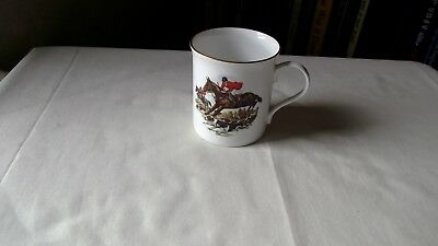 Crown Trent Fine Bone China Staffordshire England  Gold Trim  Hunting Scene Mug