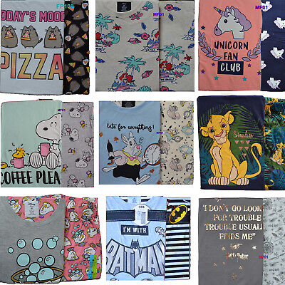 Ladies Disney Pyjamas Womens cotton Pajamas Girls T-Shirt PJ Set Primark 6 - 20