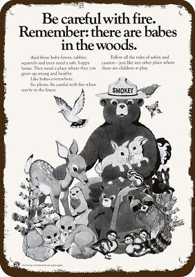 1973 AD COUNCIL Vintage Look REPLICA METAL SIGN - SMOKEY THE BEAR & BABY ANIMALS