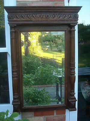 "19th C Antique French Walnut Bevel Edged Wall Mirror - 27"" by 39"""