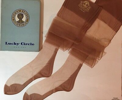 1940s LUCKY CIRCLE BISQUE SEAMED CUBAN HEELS Nylon Stockings 10X38 VTG FLAT KNIT