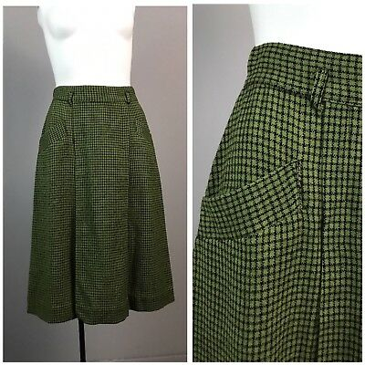 Vintage 1950s Green and Black Checked Wool Skirt  Rockabilly XS High Waisted