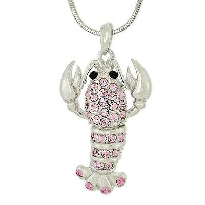 "W Swarovski Crystal PINK LOBSTER Crawfish Ocean Beach Sea 18"" Chain Pendant Gift"