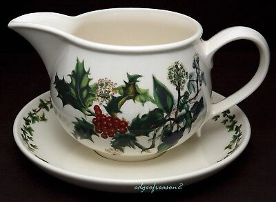 Portmeirion Holly And Ivy Holly And Ivy Gravy Sauce Boat Jug And Stand Saucer