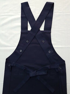 Cross Back Adjustable Kitchen Work Cafe Baker Apron Pockets Buttons Cotton Blend