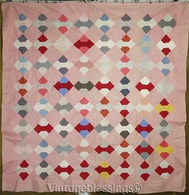 """Nice and Early! Great Fabrics Antique c1880 Bow Tie QUILT TOP 72"""" x 71"""""""