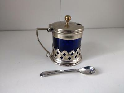 Mustard pot blue liner silver plated with spoon early 20th century