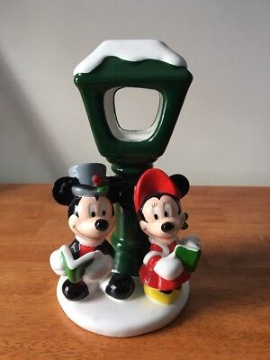 Disney Mickey Minnie Mouse Christmas Teleflora Caroling Tea Light Candle Holder