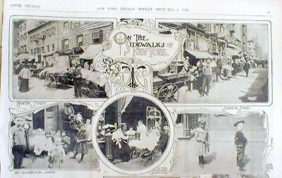 1899 newspaper Illustrated display poster shows ETHNIC MARKETS of NEW YORK CITY