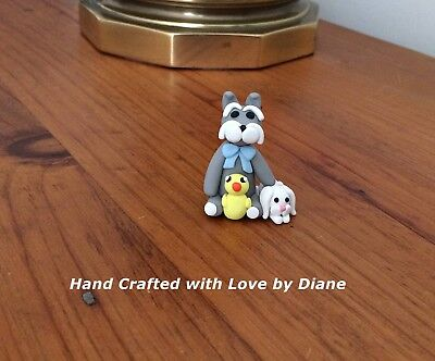 Miniature Hand Crafted Polymer Clay Schnauzer Easter Figurine With Bunny & Chick