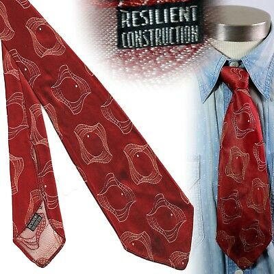 Vintage 1930s red brocade resilient construction art deco necktie mens swing tie