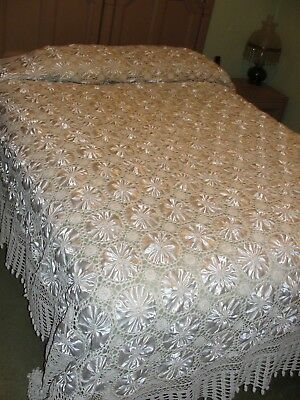 Vintage Handmade White Satin and Cotton Crocheted Duvet/Bedspread - EUC
