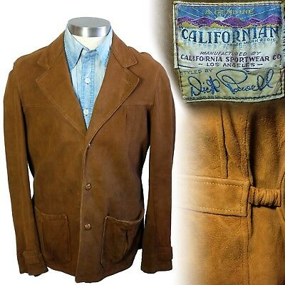 Vintage 1930s Californian Dick Powell belt back suede leather jacket 40