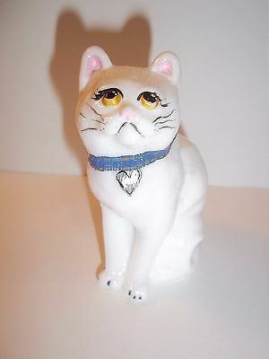 Mosser Glass Milk White HP Collar & Eyes Cat Kitten Figurine Signed