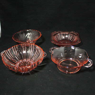 Lot of Four (4) Pink/Rose Small Glass Bowls Candy Dishes, No Boxes