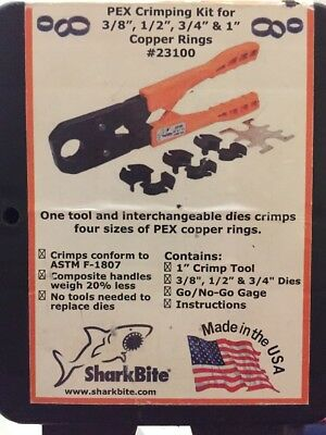 SHARKBITE PEX CRIMPING TOOL KIT FOR 3/8, 1/2, 3/4 & 1 inch 23100 CRIMP RING