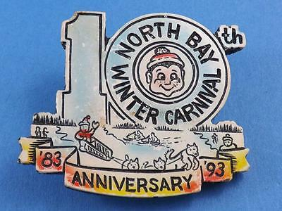 NORTH BAY WINTER CARNIVAL 10th ANNIVERSARY 1983 93 BUTTON SOUVENIR PIN COLLECTOR