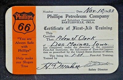 RARE 1933 Phillips Petroleum Company Gas Oil Advertising First Aid Training Card