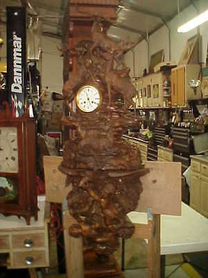 Antique Carved Massive Black Forest 5 Stag Clock With Ornate Double Cupid Shelf