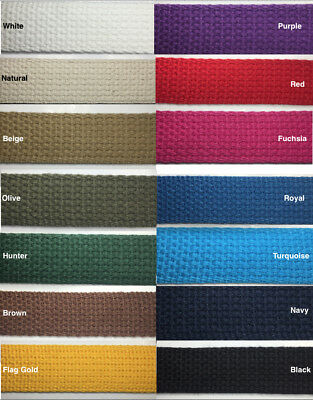 "1"" Cotton Webbing - 10 Continuous Yards - MANY COLORS AVAILABLE - Made in USA"