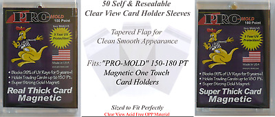 50 Perfect Fit PRO-MOLD Magnetic Card Holder Sleeves Fits 150 and 180 PT Cases
