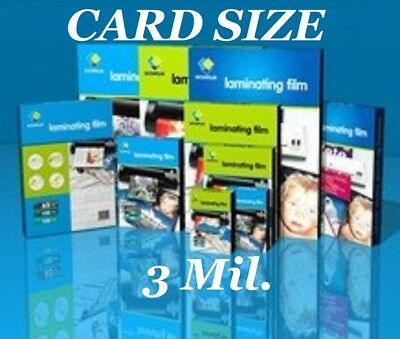 Ultra Clear Laminating Pouches Sheets Card Size 25 3 Mil 2-3/4 x 4-1/2 CQ