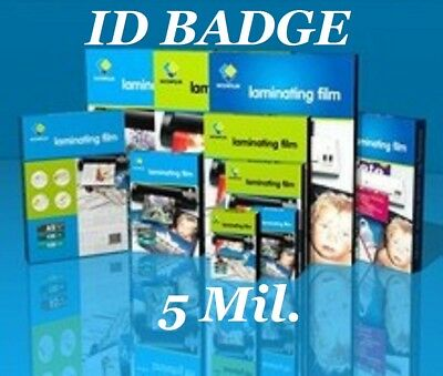 Ultra Clear 50 5 Mil ID BADGE Laminating Pouches Sheets With Slot 2.56 X 3.75 CQ