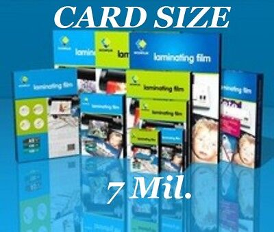 Ultra Clear Laminating Pouches Sheets Card Size 25 7 Mil 2-3/4 x 4-1/2  CQ