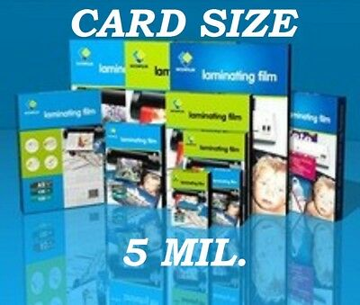 Ultra Clear Laminating Pouches Sheets Card Size 25 5 Mil 2-3/4 x 4-1/2  CQ