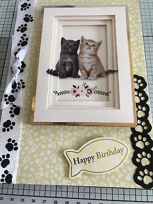 Birthday Card Handmade Beautiful 3D 2 Cute Kittens With Paw Print Details