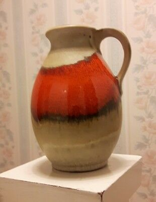 Vintage Jasba Jug - Lava Flow Orange/red. Very Attactive Numbered Ex Cond