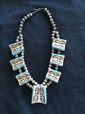 Vintage Native American Indian Sterling Silver Turquoise Choker Necklace