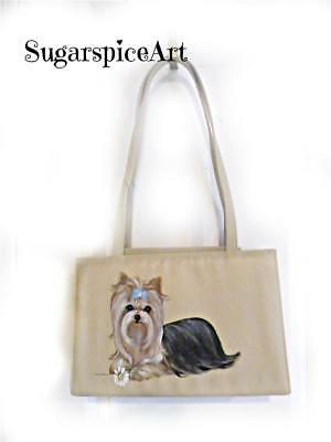 Yorkie Daisy Hand Painted  Purse Shoulder Bag Handbag by SugarspiceArt
