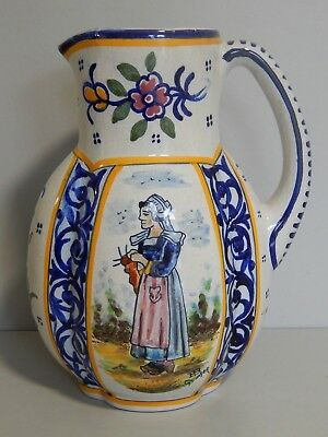 Antique French Quimper faience large pottery jug c1900 Knitting Breton Lady #1