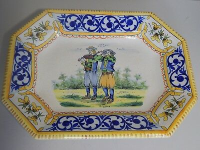 Antique French Quimper faience large pottery dish c1900 Bagpipes & Flute players